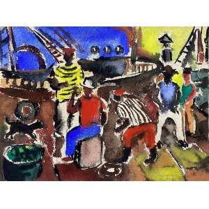 BENJAMIM SILVA - Pescadores - aquarele sobre papel artesanal - 29 x 38 cm - a.c.i.d. 1946
