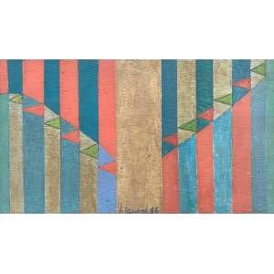 JUDITH LAUAND - Composição - óleo sobre madeira - 15 x 26 cm - a.n.c. 1986 - com a numeração do registro do acervo da artista no verso.