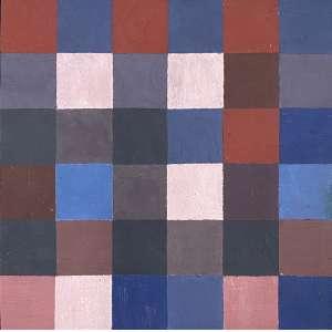 JUDITH LAUAND - Sem titulo - óleo sobre cartão - 18 x 18 cm - assinado no verso 1960, com as seguintes descrições Estudo para trabalho e dedicatória anonima, ao amigo com amizade Judith 2009.
