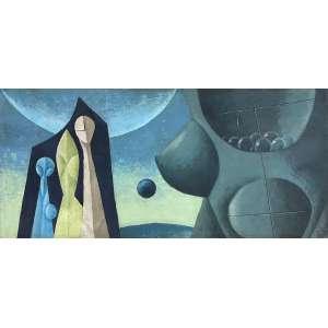 WALTER LEWY - Composição Surrealista - óleo sobre tela - 55 x 120 cm - a.c.i.d. 47/1965