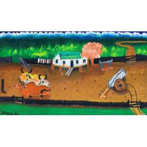 JOSÉ ANTONIO DA SILVA - Fazenda - óleo sobre tela - 40 x 70 cm - a.c.i.e. 1989