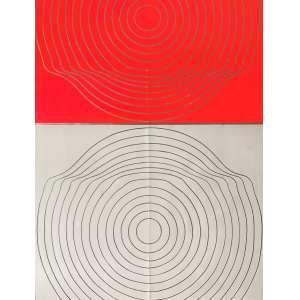 TOYOTA, Yutaka - Sem titulo - óleo sobre chapa de alumínio sobre madeira - 100 x 80 cm - ass. no 1969 verso acompanha certificado emitido pelo artista.