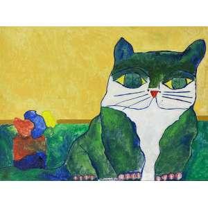 ALDEMIR MARTINS - Gato com flores- acrílica sobre tela - 60 x 80 cm - a.c.i.d. 2003 - Acompanha certificado emitido pelo artista.
