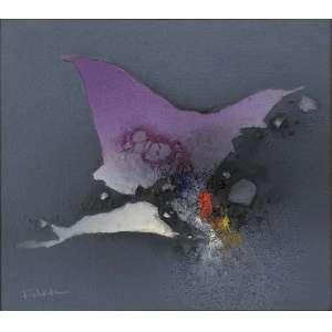 FUKUDA, Kenji - Abstrato - óleo sobre tela - 24 x 24 cm - a.c.i.e 1989 - Com etiqueta na Contorno Galeria de Arte.
