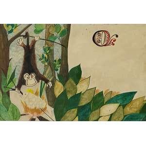 ALDEMIR MARTINS - Floresta - técnica mista sobre papel - 35 x 50 cm - a.c.i.d. - (Ilustração original da obra, Historias indígenas de Walmir Ayala)