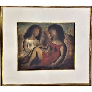 TERUZ, Orlando - Meninas - óleo sobre tela - 38 x 46 cm - a.c.i.d. - assinado e datado no verso 1967, procedência Galeria Cosme Velho e registrada na catalogação do artista, acompanha certificado