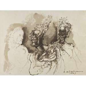 GRASSMANN, Marcelo - Guerreiros - nanquim e guache - 49 x 63 cm - a.c.i.d. 1963