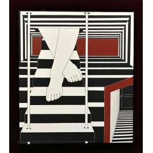 WANDA PIMENTEL - Série Envolvimentos livro objeto Nº 8 - 68 x 60 cm - assinado 2015/2016 - A tela impressa acrescida de delicados traços de pintura únicos, para cada exemplar uma tela e uma livro - com poema Tabacaria escrito por Fernando Pessoa em 1928.