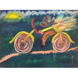 JOSÉ ANTONIO DA SILVA - Ciclista - óleo sobre tela - 30 x 40 cm - a.c.i.d.