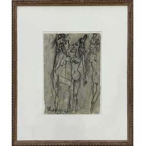 IBERÊ CAMARGO - Figuras - guache sobre papel - 32 x 23 cm - a.c.i.e. 1987 - Ex: coleção Casimiro xavier de Mendonça.