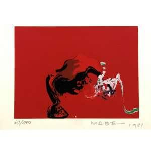 MABE, Manabu - Abstrato vermelho - serigrafia 33/200 - 16 x 22 cm - a.c.i.d. 1981.