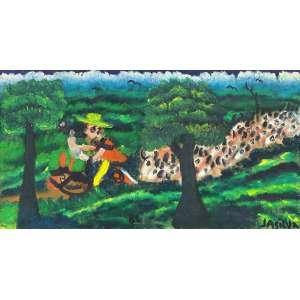 JOSÉ ANTONIO DA SILVA - Vaqueiro tocando a boiada - óleo sobre tela - 33 x 62 cm - a.c.i.d. 1982