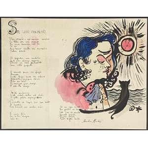 ALDEMIR MARTINS - Poema, Ser um menino - nanquim e guache - 48 x 60 cm - a.c.i.d. 1949