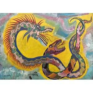 CHICO DA SILVA - Dragões e serpente - óleo sobre cartão colado em placa - 56 x 77 cm - a.n.c. - 1967.