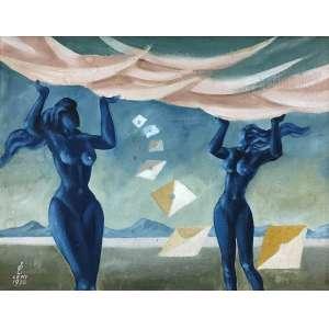 WALTER LEWY - Mulheres surreais - óleo sobre tela - 28 x 36 cm - a.c.i.e. 1976.
