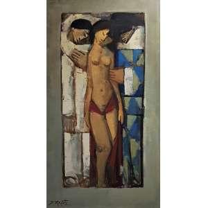 MECATTI, Dario - Casal e Pierrot - óleo sobre tela - 87 x 49 cm - a.c.i.d.