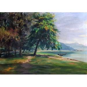 CAMPÃO, José Marques - Floresta e lago - óleo sobre tela - 51 x 70 cm - a.c.i.e.