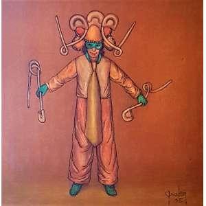 GRUBER, Mario - Homem com gravata longa - óleo sobre tela - 40 x 40 cm - a.c.i.d. 2005