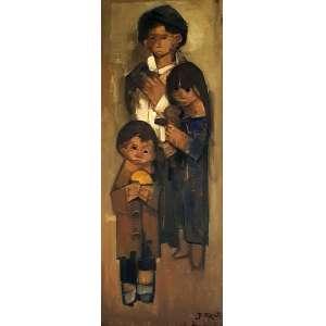 MECATTI, Dario - Crianças - óleo sobre tela - 100 x 38 cm - a.c.i.d.