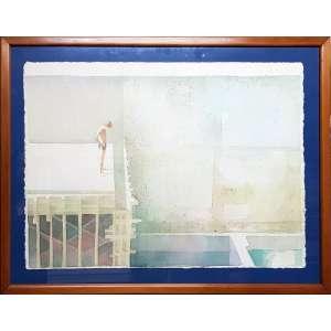 GREGÓRIO GRUBER - Menino- aquarela - 54 x 76 cm - a.c.i.d. 1983 - Obs: necessita limpeza