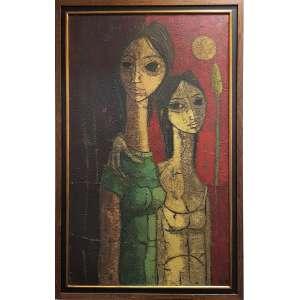 INOS CORRADIN - Duas mulheres - óleo sobre tela - 100 x 60 cm - a.c.i.d. déc. 60