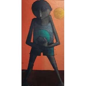 INOS CORRADIN - Menino com bola - óleo sobre tela - 93 x 45 cm - a.c.i.e.