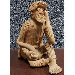 MESTRE GALDINO, Manuel Galdino de Freitas - Pedinte - escultura em barro cozido - 26 cm de altura - assinada