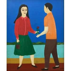 DJANIRA da Motta e Silva - Casal - óleo sobre tela - 46 x 38 cm - a.c.i.d. - Procedência A Galeria São Paulo