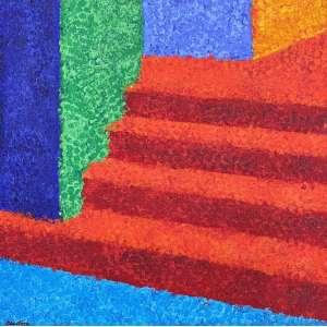 TOZZI - Escada - acrílica sobre tela - 32 x 30 cm - a.c.i.e. 2001