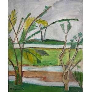 BONADEI, Aldo - Paisagem - óleo sobre tela - 41 x 33 cm - a.c.i.e. 1973 - No verso etiqueta Oscar Seraphico Galeria de Arte, ex: Coleção Florita Ayres Netto.