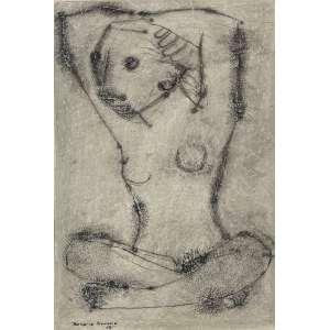 ROSÁRIO MORENO - Modelo - técnica mista sobre papel - 40 x 27 cm - a.c.i.e. 1955