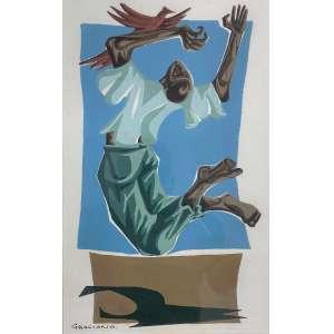 GRACIANO, Clóvis - Figura e pássaro - guache sobre papel - 26 x 16 cm - a.c.i.e.