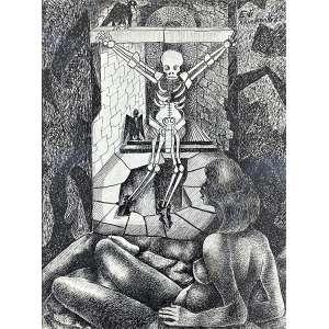 DI CAVALCANTI, Emiliano - Mulata com esqueleto - desenho a nanquim - 36 x 26 cm - a.c.s.d. 1961