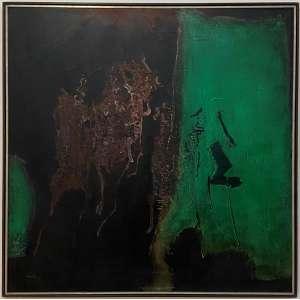 MABE, Manabu - Poemas da terra - óleo sobre tela - 100 x 100 cm - a.c.i.e. 1966 - Obra registrada no instituto Mabe, no verso etiqueta da Dan Galeria de Arte.