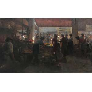 MECATTI, Dario - Mercado - óleo sobre tela - 60 x 100 cm - a.c.i.d.