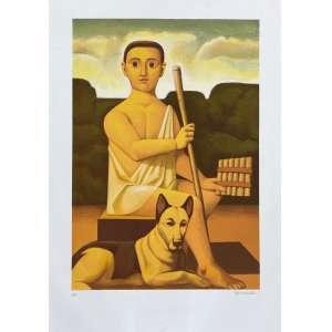 REYNALDO FONSECA - Figura com cão - serigrafia P/A - 100 x 70 cm - a.c.i.d. - Obs: sem moldura