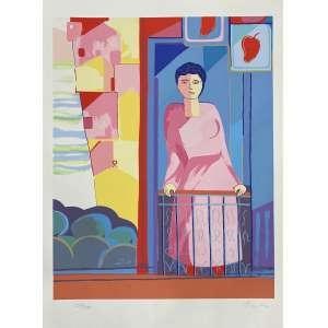 CICERO DIAS - Mulher na varanda - serigrafia 158/250 - 75 x 55 cm - a.c.i.d. - Obs: sem moldura