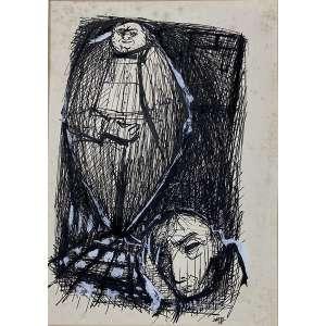 DAREL VALENÇA LINS - Figuras - desenho a nanquim e guache - 27 x 20 cm - a.c.i.d. 1955 - Obs: sem moldura