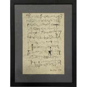 LEON FERRARI - Escrituras - nanquim - 34 x 23 cm - a.c.i.d. 1986 - No verso etiqueta do Museu de Arte Contemporâneo, Buenos Aires - Argentina.