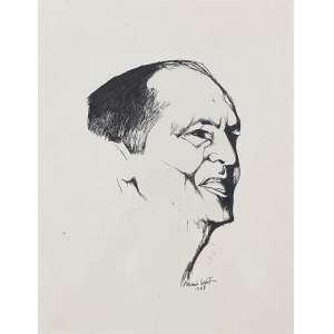 ALDEMIR MARTINS - Retrato do Oscar Niemayer - desenho a nanquim - 36 x 28 cm - a.c.i.d. 1968