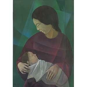 HARRY ELSAAS - Maternidade - óleo sobre tela - 70 x 50 cm -a.c.i.e. 1980