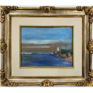VOLPI, Alfredo - Canal de Itanhaém - óleo sobre cartão - 27 x 34 cm - a.c.i.d. déc 30/40 - Obs: Obra registrada no projeto Volpi, sob numero 0973, com etiqueta da DAN Galeria no verso.