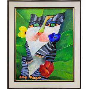 ALDEMIR MARTINS - Gato - acrílica sobre tela - 100 x 80 cm - a.c.i.d. 1999 - com certificado da Galeria André.