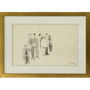SILVIO OPPENHEIN - Figuras - desenho a nanquim aquarelado - 23 x 36 cm - a.c.i.d. 1962