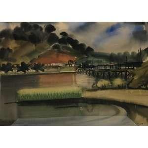 TANAKA, Walter Shigeto - Ponte de madeira sobre rio - guache - 33 x 47 cm - a.c.i.d. déc 60