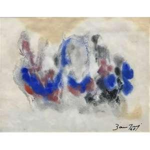 BANDEIRA, Antonio - Abstrato em azul - guache -17 x 22 cm - a.c.i.d. 1967 - ex: coleção família França Loureiro