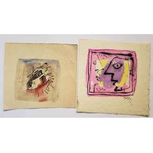 JEAN GILLON - Sem título - duas aquarela sobre cartão - 11 x 11 cm cada - uma assinada c.i.d. - Obs: sem moldura.