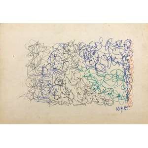 HEINZ KÜHN - Abstrato - desenho a caneta - 24 x 35 cm - a.c.i.d. 1985 - Obs: sem moldura.