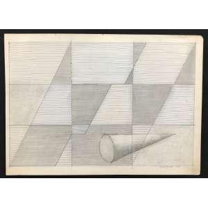 DIONÍSIO DEL SANTO - Cone geométrico - desenho a lápis - 21 x 29 cm - a.c.i.d. 1984- Obs: sem moldura.