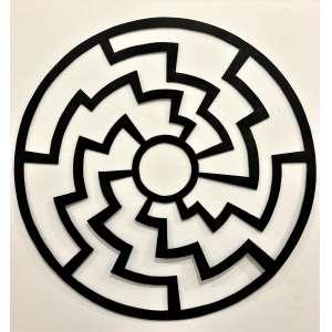GUTO LACAZ - A Mandala - recorte em chapa metálica e pintura eletrostática - 40 cm de diâmetro - sem assinatura, obra reproduzida no livro BRAZILIANART VI, livro de arte Brasileira.